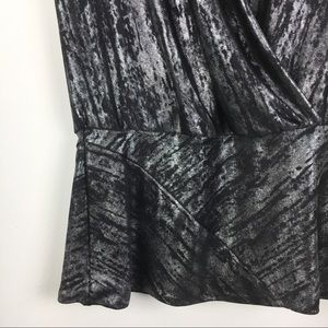 Cache Tops - New NWT Cache Silver & Black Wrap Top Blouse M